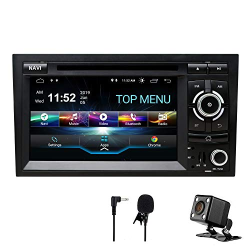 SWTNVIN Android 9 Autoradio Stereo-Headunit passend für Audi A4 DVD-Player Radio 17,8 cm HD Touchscreen GPS Navigation mit Bluetooth WiFi Lenkradsteuerung 2 GB + 16 GB