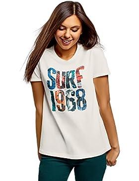 oodji Collection Mujer Camiseta de Algodón con Inscripción