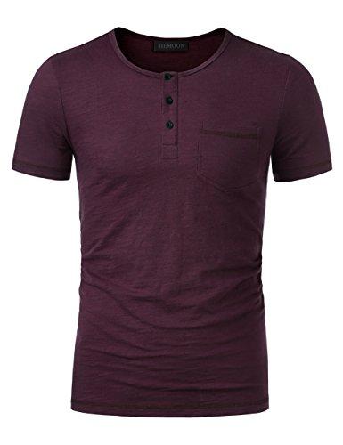 Baumwoll Jersey Henley (HEMOON V-Neck T, Herren T-Shirt Kurzarm Shirt mit Grandad-Ausschnit 100% Baumwolle Henley Neck Violett L)
