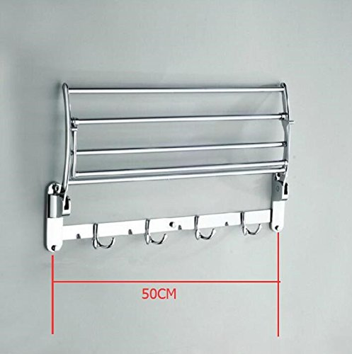 Porta asciugamani in acciaio inox asciugamano rack doppio pieghevole attività,50cm