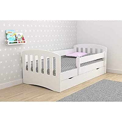 Toddler Bed Kids Bed Junior Children's Single Bed with Mattress and Underbed Drawer Included - Classic | Perfect for Boys and Girls | Eco Paints Used | Maximum Safety | Up to 120 KG!,(White,180x80)