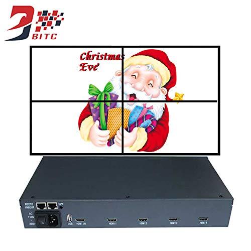 SZBITC Video Wall Controller 2 x 2 Video Wall Processor unterstützt HDMI USB RS232 Inputs für 4 TV-Splicing mit Fernbedienung 1.3 Video Splitter