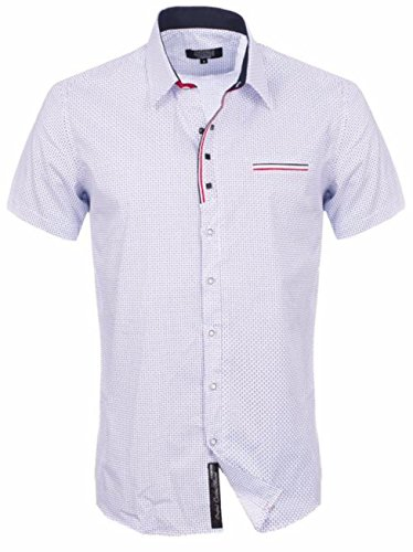 Herren, Carisma Enge Passform Kurzärmelig Sommer Oberhemd Weiß