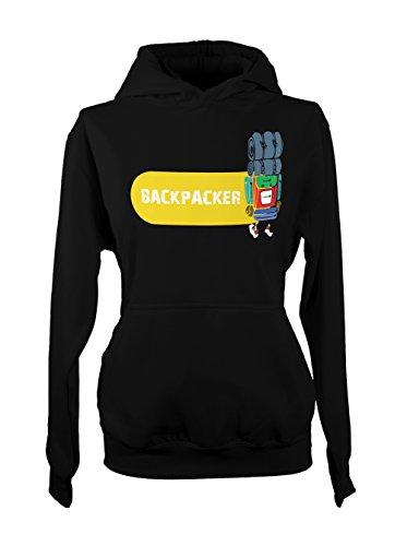 Backpacker Traveling Travel Femme Capuche Sweatshirt Noir