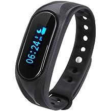 Cubot V1 - Ajustable Smartwatch Pulsera de Actividad (Impermeable, Bluetooth 4.0, Podómetro, Monitor de Sueño, Caloría, Anti-perdida, para Smartphone Android IOS Cubot Note S Rainbow Dinosaur Cheetah) (Negro)