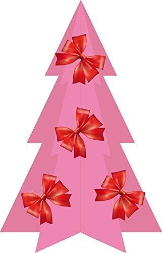 Hiskøl 30 cm ca. 30 Astspitzen Künstlicher Weihnachtsbaum Tannenbaum Christbaum inklusive Kunststofffuß, pink mit Dekoration