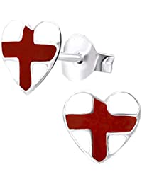 e038cdcb30d6 So Chic Joyas - Pendientes Niños bandera de Inglaterra Inglés Corazón  Esmalte Plata 925