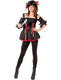 r-dessous hochwertiges Damen Piraten Kostüm Seeräuber Freibeuter & Hut Mottoparty Halloween Karneval