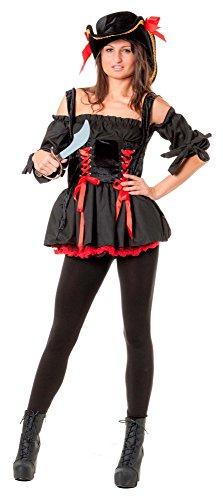 r-dessous hochwertiges Damen Piraten Kostüm Seeräuber Freibeuter & Hut Mottoparty Halloween Karneval Schwarz / Rot