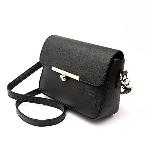 Versione coreana delle signore delle maree della signora, zaino obliquo della spalla, borse, piccolo mini sacchetto quadrato semplice di modo ( Colore : Nero ) Nero