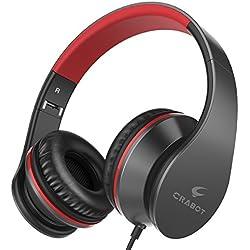 Crabot I65 Auriculares con Micrófono, Hi-Fi Deep Bass Auriculares,Auriculares de Diadema, plegable auriculares con cable de audio de 3,5 mm para PC/Iphone/Ipad /Samsung para niños y adultos