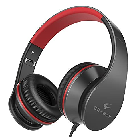 Crabot I65 On Ear Kopfhörer Tragbarer und Faltbarer Headset mit Mikrofon Lautstärkeregelung Freisprech- und Faltfunktion Bequemen Verstellbaren Ohrmuscheln Geeignet für iPhone Smartphones PC und MP3