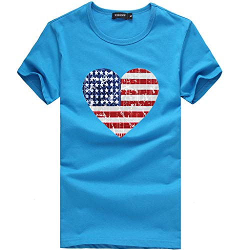 Damen modische lose amerikanische Flagge Kurzarm bedrucktes T-Shirt Top Bluse