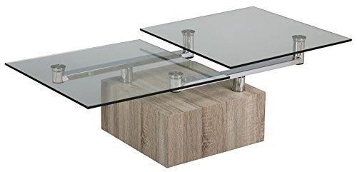 PEGANE Table basse verre socle bois carré, L.1300 X l.650 X Ht.400 mm