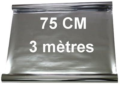 Aerzetix - 3 mètres 75 cm Film solaire teinté SILVER ARGENT EFFET MIROIR pour vitre fenêtre auto voiture velux bâtiment