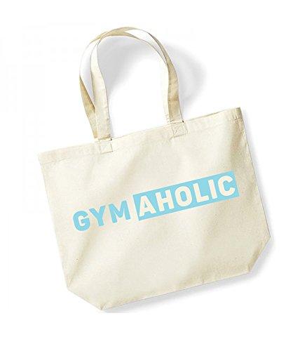 GymAholic - Large Canvas Fun Slogan Tote Bag Natural/Blue