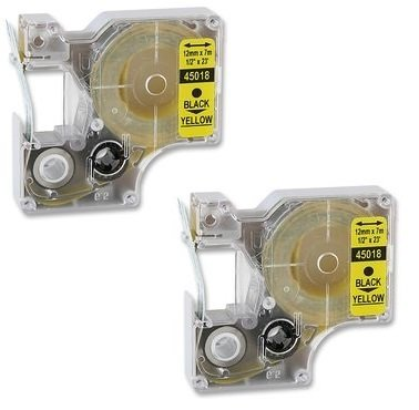 Compatibile 2 x Dymo D1 45018 Standard Labelling Tape -cassetta a nastro- (Nero/Giallo) for DYMOPocket2000,3500,5000,5500,LM100,LM200, LM300,LP150,LP250,LP350, LM150,LM350,LM450