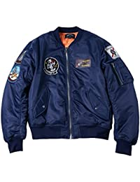 AVIDACE Classic Bomber Jacket Men Nylon Quilted with Patches