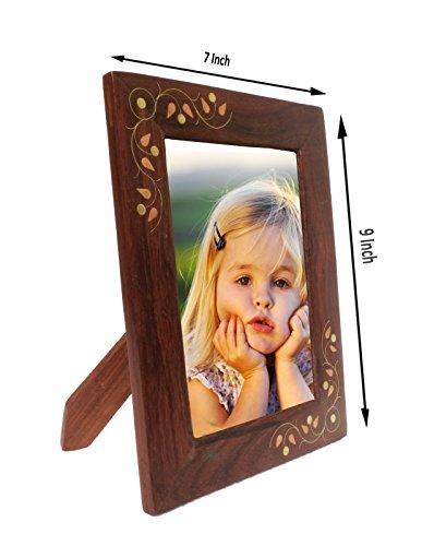 Pindia Handmade Wood Brass Decorative Picture Photo Frame