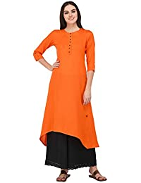 Pistaa Orange Solid High Low Hem Kurta With Plus Size