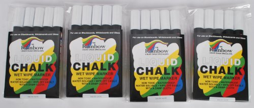 Pack Of 20 White Rainbow Liquid Chalk 5mm Marker Pens For Blackboards & Glass.