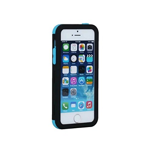 iPhone 5 5S 5C Coque,iPhone SE Coque,Lantier Slim givré Matte finition design antichoc Hybride double couche protection Defender Housse pour Apple iPhone 5/5S/5C/SE Menthe verte+Gris Black+Blue