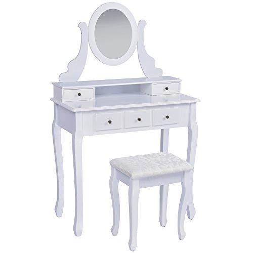 Jalano Schminktisch Venezia weiß Frisiertisch Set Schminkkommode mit Spiegel schwenkbar inkl Hocker