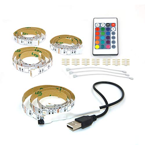 Seven Lights Led Strip Lights, 6.6Ft/2M for 40-60 inch TV, USB LED strip for TV backlight, 5050 RGB LED strip Kit with Remote for HDTV