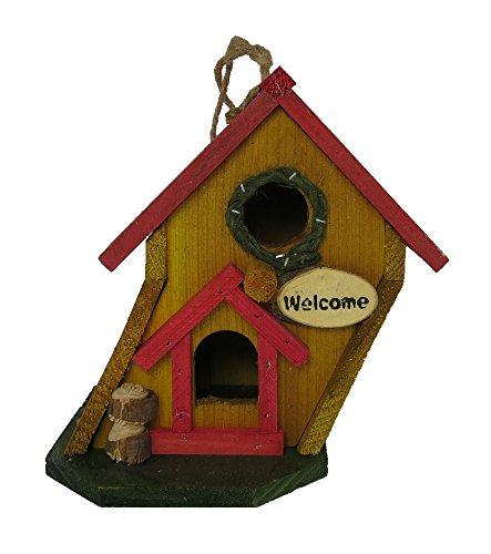 Vogelhaus aus Holz zum aufhängen oder hinstellen (18 x 19 x 14cm)