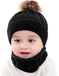 Longra 2pcs Bébé Unisexe Tricoté Bonnet Casquette Hiver Tricoté Casquette  Faux Fourrure pour Enfant Bébé Casquettes 180cea22fe2