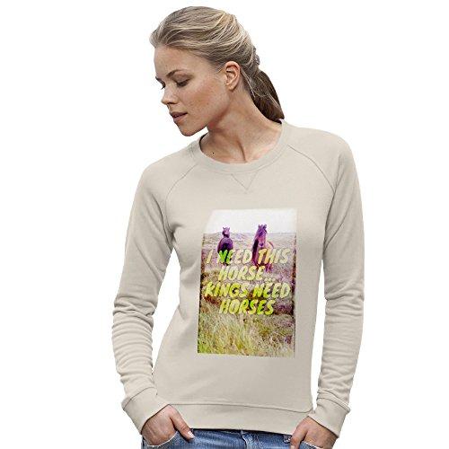 TWISTED ENVY Femme Sweat-Shirt Kings Need Horses imprimé Vintage Blanc