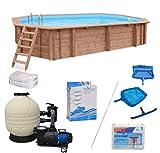 WelaSol  Holz Pool Bali Oval 6,40 x 4,00 x 1,38 m Technikset | Aufstellpool oder Einbaupool | mit Technik, Filteranlage und Zubehör