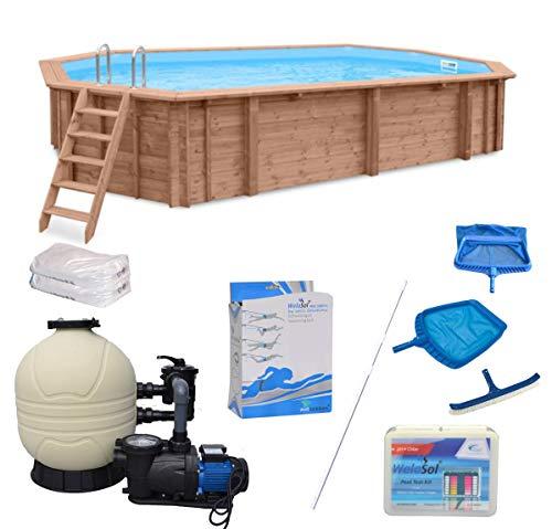 WelaSol  Holz Pool Bali Oval 6,40 x 4,00 x 1,38 m Technikset | Aufstellpool oder Einbaupool | mit Technik, Filteranlage und Zubehör | Garten > Swimmingpools > Filteranlagen | Aqua | WelaSol