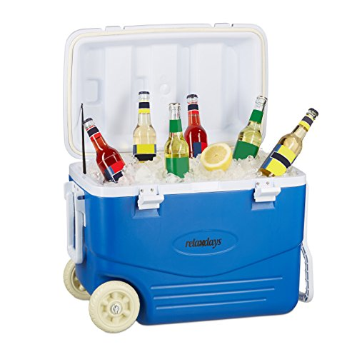 Relaxdays Kühlbox ohne Strom, Kühl-Trolley zum Ziehen, große Kühltasche mit Rollen, Wasserablauf, 46 Liter, blau-weiß (Ziehen Blau)