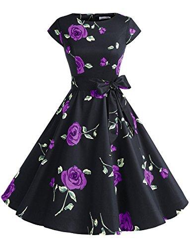 Dressystar Damen Vintage 50er Cap Sleeves Dot Einfarbig Rockabilly Swing Kleider Schwarz mit Violett Blumen L