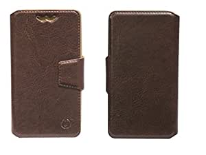 J Cover Kanger Series Leather Pouch Flip Case With Silicon Holder For Spice Smart Flo Pace 2 Brown