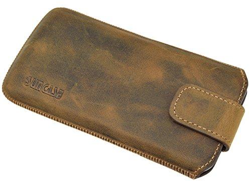 Suncase ECHT Ledertasche Leder Etui für iPhone X Tasche (mit Rückzugsfunktion und Klettverschluss) antik-cognac antik-cognac