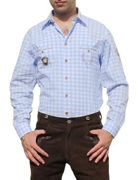Trachtenhemd für Lederhosen mit Verzierung blau/kariert