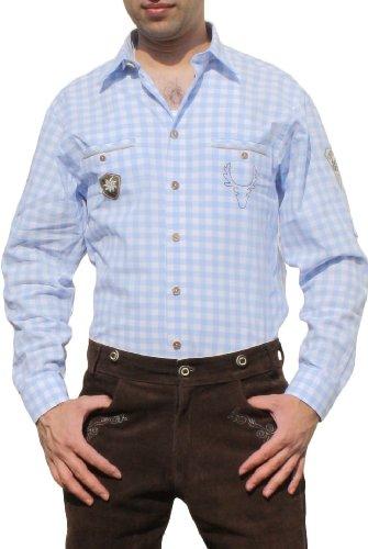 Trachtenhemd für Lederhosen mit Verzierung blau/kariert, Hemdgröße:2XL