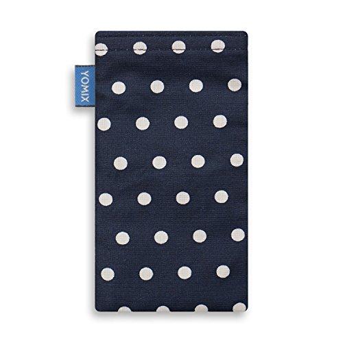 YOMIX Handytasche | Tasche | Hülle GUNILLA rot für Apple iPhone 6 / 6s / 7 aus beschichteter Baumwolle mit genialer Display-Reinigungsfunktion durch Microfaserinnenfutter GUNILLA blau