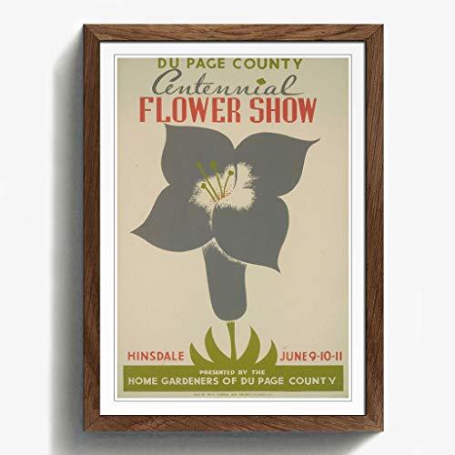 BIG Box Art Walnuss A2gerahmt 62,2x 45,7cm (62x 45cm) Vintage WPA Poster Flower Show, Mehrfarbig -