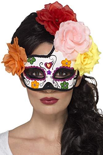 Smiffys Damen Filigrane Tag der Toten Augenmaske mit Rosen, One Size, Bunt, 44959