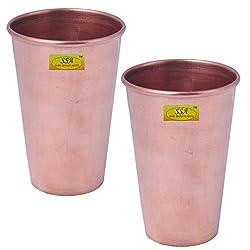 SHIV SHAKTI ARTS Set Of 2 13 cm X 8 cm Handmade Pure Copper Glass Plane With Small Base Volume=300 ml each