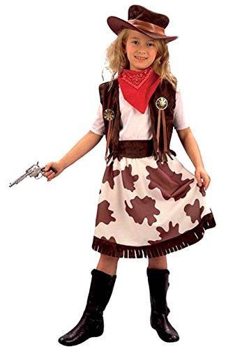 Kostüm 70er Jahre Niedliche - Karnevalsbud - Mädchen Karneval Cowgirl Cowboy Kostüm, alle sichtbaren Teile, braun weiß, 7-8 Jahre