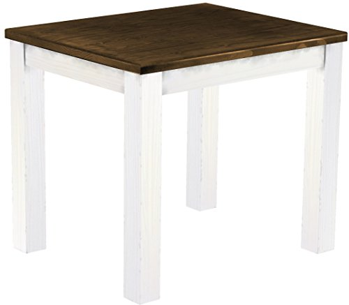 Brasilmöbel Esstisch \'Rio Classico\' 90 x 73 x 75 cm, Pinie Massivholz, Farbton Eiche antik - Weiß