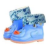 Timorly Entlein Schüler, Kleinkinder Kinder Jungen und Mädchen Baby Cartoon Ente Gummi Wasserdusche Warm Stiefel Regen Schuhe,Plus Samt Regen Stiefel, Regenstiefel, Rutschfeste Schuhe (24,Blue A)