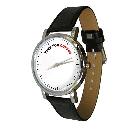 Zeit für Kaffee Design Armbanduhr mit einem echtem Leder Strap (Pot Top Kaffee)