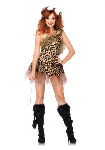 öhlenmensch Kostüm, Größe M/L, leopard (Höhlenmenschen Steinzeit)