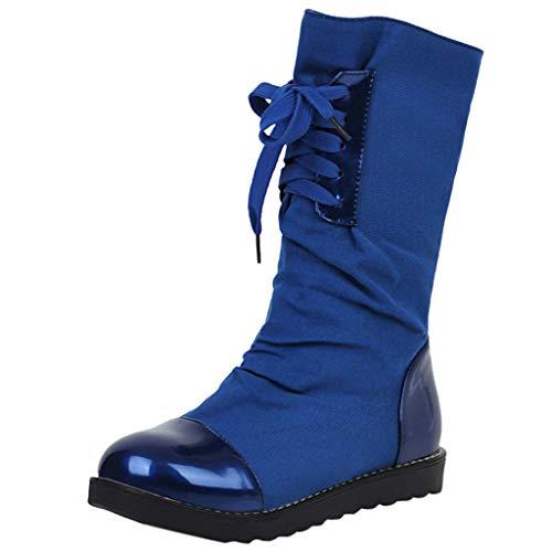 LILIHOT Damen Stiefeletten Mode warme kurze Leder Boot Frauen Lace-Up Kunstleder Patchwork Schuhe Winterstiefel Ankle Kurzschaft Schuhe Frauen Freizeitschuhe -