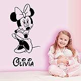 42X86cm Personnalisé Minnie Mouse Sticker Pépinière Personnalisé Bébé Nom Bande Dessinée Autocollant...